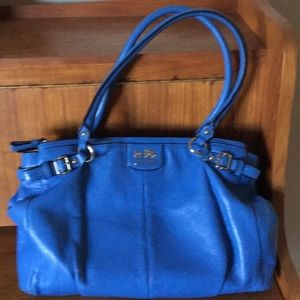 Coach tote with multi pockets and buckle trim